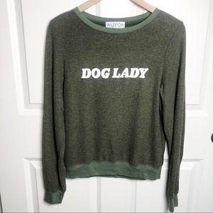 Wildfox Dog Lady Sweatshirt olive green size XS